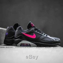 Chaussures Nike Air Max 180 Hommes Noir Rose Gris Cuir Trainer Sport Taille Uk 6-12