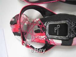 Christian Dior Rose / Noir / Gris Camo Print'anselm 'sandales Plates / Chaussures 38