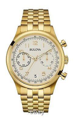 Chronographe Quartz Homme Bulova Gold-tone Affichage De La Date 43mm Montre 97b149