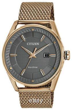 Citizen Cto Eco-drive Homme Date Rose Gold-tone Mesh Band 42mm Montre Bm6983-51h