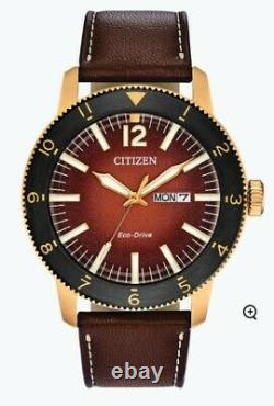 Citizen Eco-drive Brycen Hommes Indicateur De Date Cadran Orange 44mm Montre Aw0076-03x
