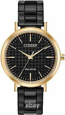 Citizen Eco-drive Ltr Tone Rose Or Femme Noir Ip 36mm Montre Em0768-54f