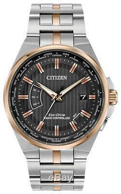 Citizen Eco-drive Pour Homme Perpetual A-t Heure Mondiale Cadran Noir Cb0166-54h