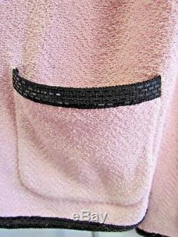Collection St. John's Par Marie Grey Blush / Black Trim Trim Jacket Taille 10