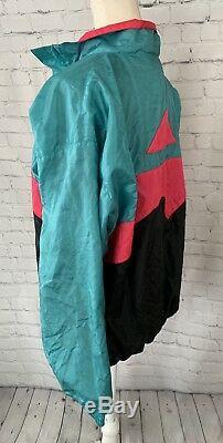 Coupe-vent En Nylon Vintage Avec Étiquette Grise Nike, Fermeture À Glissière Complète, Noir, Rose Sarcelle, Doublé M