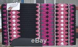 Couverture De Selle Mayatex Wool Show 34x40 Custom Noir Rose Fuchsia Gris Blanc