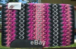 Couverture De Selle Mayatex Wool Show 34x40 Custom Noir Rose Gris Métallisé Nouveau