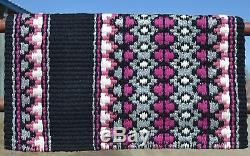Couverture De Selle Mayatex Wool Show 34x40 Noir Rose Fuschsia Gris Blanc Épais
