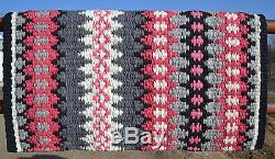 Couverture De Selle Mayatex Wool Show 34x40 Noir Rose Gris Blanc Épais