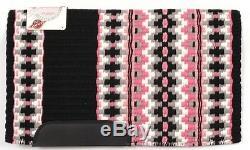 Couverture De Selle Western Wool Show Personnalisée 34x 40 Noir-rose-blanc-gris Cendré