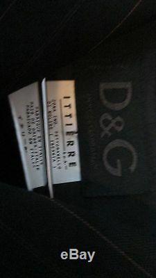 Dolce & Gabbana Tailleur Pantalon Noir 100% Laine Lana Noir Et Rose Foncé