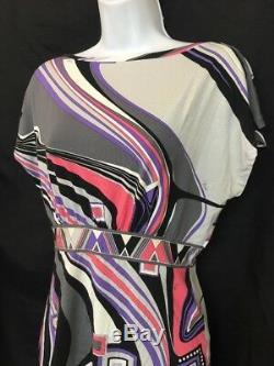 Emilio Pucci Haut Gris Noir Et Rose Multicolore Stretch S Manches Taille M