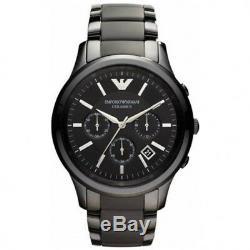 Emporio Armani Ar1452 En Céramique Noire Montre Chronographe Mode Hommes Montre