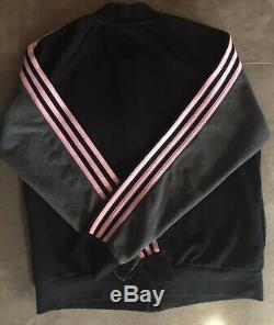 Euc Adidas 3 Bandes Veste Pantalon Set Femmes Noir Gris Rose Taille Grande