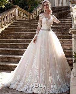 Fard À Joues Rose Robe De Bal Robes De Mariée Manches Longues Perles Ceinture Plus Size