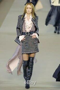 Femmes Chanel 06a Noir Rose Gris Métallisé Tissé Fringe Blazer Taille 36