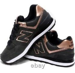 Femmes New Balance 574 Or Rose Noir Gris Foncé 9.5 Run Chaussures Casual Wl574pmr