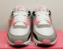 Femmes Nike Air Max 90 Gris Blanc Rose Noir Cd0490-102 Taille 6 Nouveau Couvercle Non
