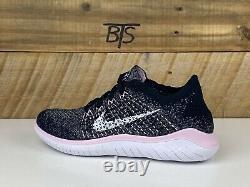 Femmes Nike Free Rn Flyknit 2018 Taille-7 Gris Blanc Rose Noir (942839 007)