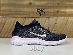 Femmes Nike Free Rn Flyknit 2018 Taille-8 Gris Blanc Rose Noir (942839 007)