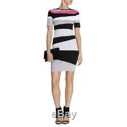 Flatteur Karen Millen En Maille Moulante Dress Bande Blanche Noir Gris Rose L 4 Bnwt