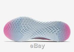Flyknit Nike Epic React Pour Femme, Gris Platine Et Rose Noir Aq0070-007 Sz 8.5