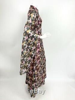 Fou Vtg 60s 70s Black Rose Gris Résumé Sequins Angel Manche 14 Robe Longue