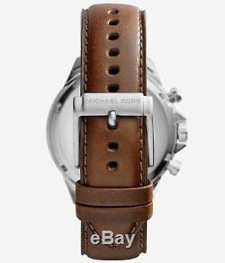 Gage Mk8362 Chronographe En Acier Inoxydable Bracelet En Cuir Brun De Michael Kors Men