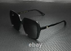 Gucci Gg0533sa 001 Square Black Shiny Black Grey 56 MM Lunettes De Soleil Femme