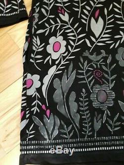 Gudrun Sjöden - Robe Tunique À Manches 3/4 Et À Fleurs - Noir Et Rose