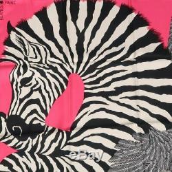 Hermes Foulard Etole Zebra Pegasus Alice Shirley Rose Gris Noir Soie Nouveau Carré 90