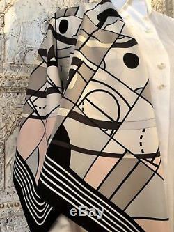 Hermès Paris Echarpe 90 Sport Anamorphée Noir Blanc Gris Vanille Rose Pâle