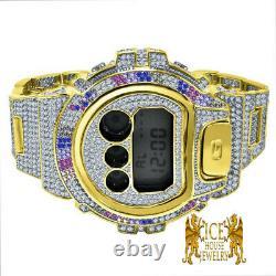 Homme Bling Rainbow Diamond Simulated G Shock Dw 6900 2 Tone Gold Montre Personnalisée