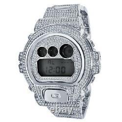 Hommes Entièrement Glacé Diamant Simulé Authentique G Shock Dw6900 Montre Personnalisée En Or Blanc