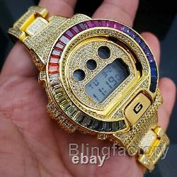 Hommes Iced Simulated Diamond Authentique Dw6900 Gold Laiton Personnalisé Montre De Choc G