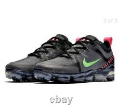 Hommes Nike Air Vapormax Formateurs Royaume-uni Taille 10 Eur 43 Noir / Gris / Neon Vert / Rose