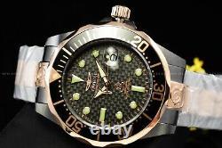 Invicta Homme 47mm Grand Diver Automatique Noir Et Rose Bracelet En Or Montre Ss