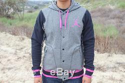 Jordan Varsity Jacket 2.0 Sweat À Capuche Sz L Gris Rose Noir 547693 033