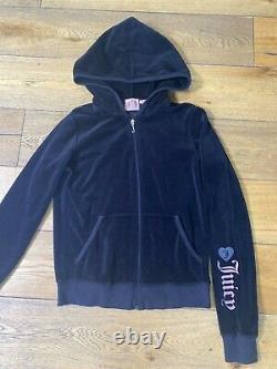 Juicy Couture Y2k Velour Survêtement Noir Rose Gris Femme Taille Moyenne