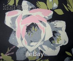 Karen Millen Roses Gris Vert Noir Et Rose Vert Floral V Retour Robe Rare 8 Bnwt