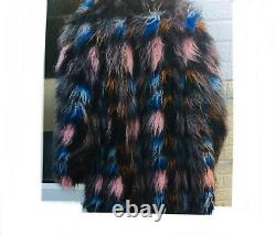 Kenzo Shaggy Manteau De Fourrure Taille 12 40 Noir Gris Bleu Rose Multicolore Nouveau