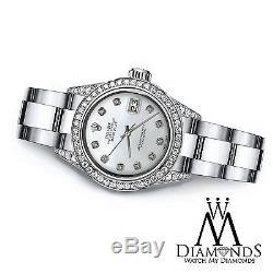 Le 36mm Féminin Rolex Oyster Perpetual Datejust Ss Diamants Blancs Personnalisée Mop Dial