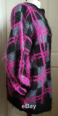Main Vintage Tricotée Chèque Tartan Gris Noir Rose Moelleux Cardigan Oversize XL