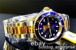 Mens Invicta Pro Diver Blue 23kt Gold Tone Nh35a Automatic Coin Steel Watch Nouveau