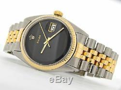 Mens Rolex 2tone Or 14k / Acier Inoxydable Datejust Withjubilee Band Et Cadran Noir