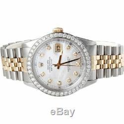 Mens Rolex 36mm Diamond Datejust 18k / Steel Bicolore Jubilee Band 2 Ct
