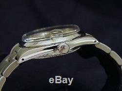 Mens Rolex Date Montre En Acier Inoxydable Cadran Argenté Oyster Bracelet Quickset 15000
