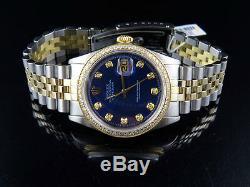 Mens Rolex Datejust 18k 2 Tone Or 36mm Jubilee Cadran Bleu Diamond Watch 2 Ct