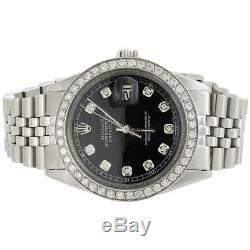 Mens Rolex Datejust 36mm Diamond Watch Jubilee Band Custom Steel Cadran Noir 2 Ct