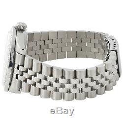 Mens Rolex Datejust 36mm Diamond Watch Jubilee Steel Band Blanc Mop Dial 2 Ct